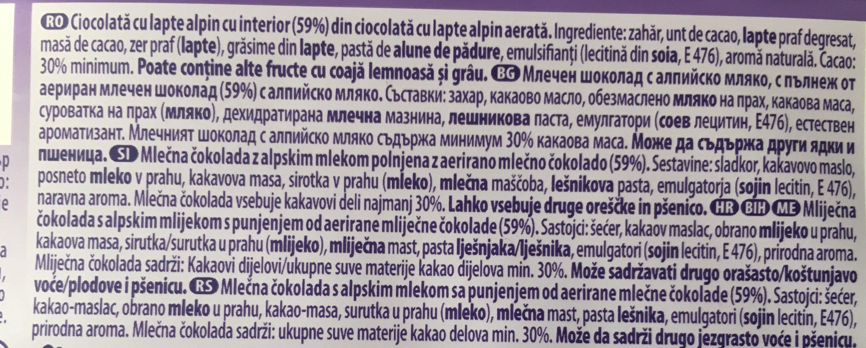 Milka Bubbly Alpine Milk - Ingrédients