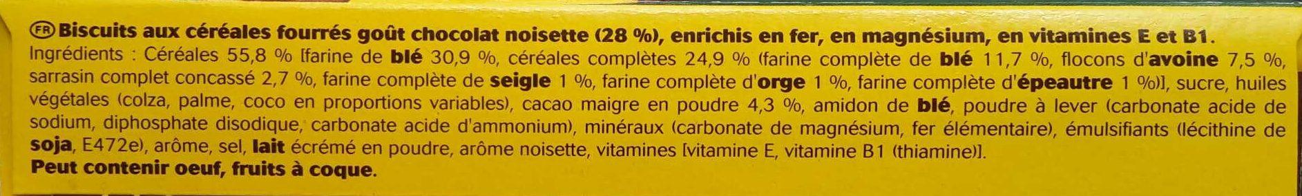BelVita Duo Fourré goût Chocolat Noisette (maxi format) - Ingredients - fr