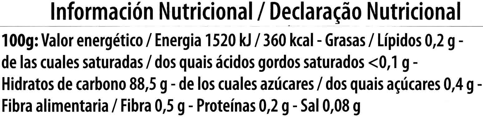 Tapioca - Información nutricional