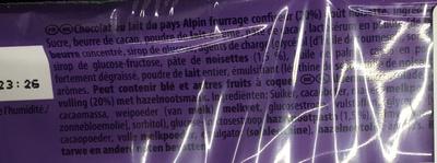 Choqsplash goût Noisette - Informations nutritionnelles