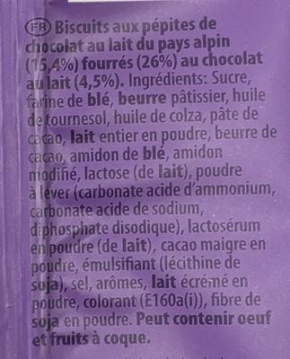 Cookies Sensations Coeur Choco - Ingrédients