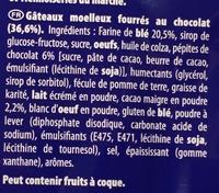 Goûter Moelleux Chocolat - Ingrédients