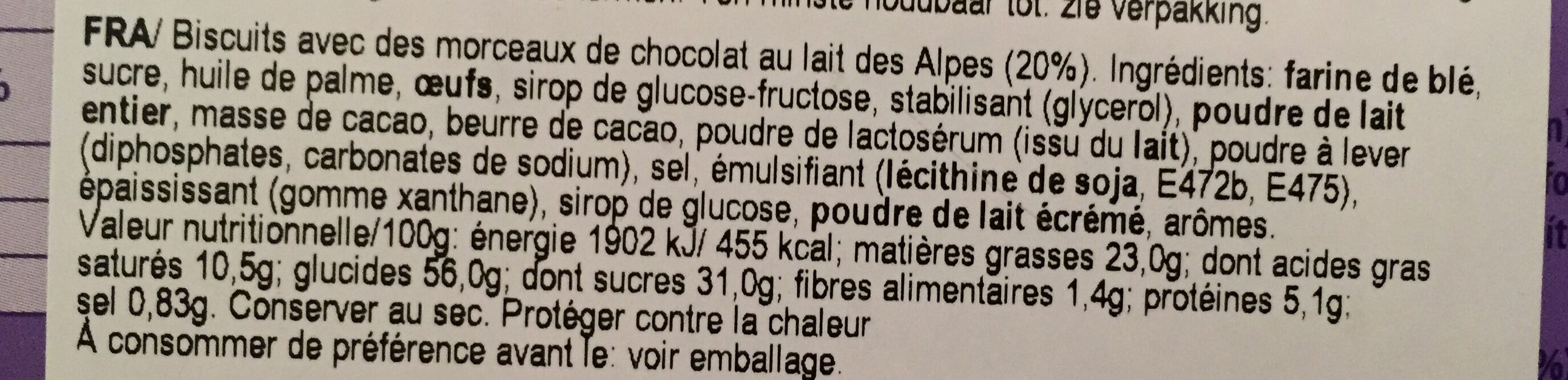 Milka 140G Choco Twist Cookies - Ingredients