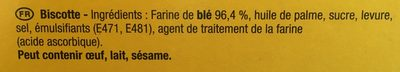 La Biscotte - Ingrédients - fr