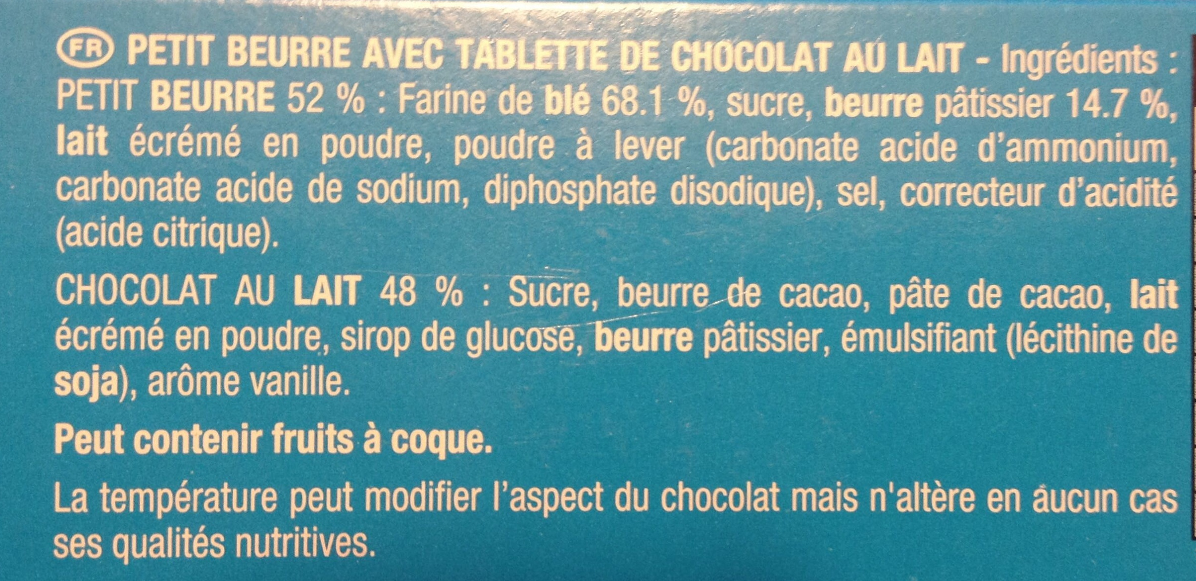 Véritable Petit Écolier Chocolat au Lait - Ingredients