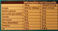 Véritable Petit Écolier Chocolat au Lait - Informations nutritionnelles - fr