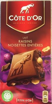 Lait Raisins Noisettes entières - Produit - fr