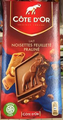 Bloc, lait noisettes feuilleté praliné - Product