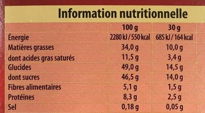 Bloc, lait noisettes feuilleté praliné - Nutrition facts