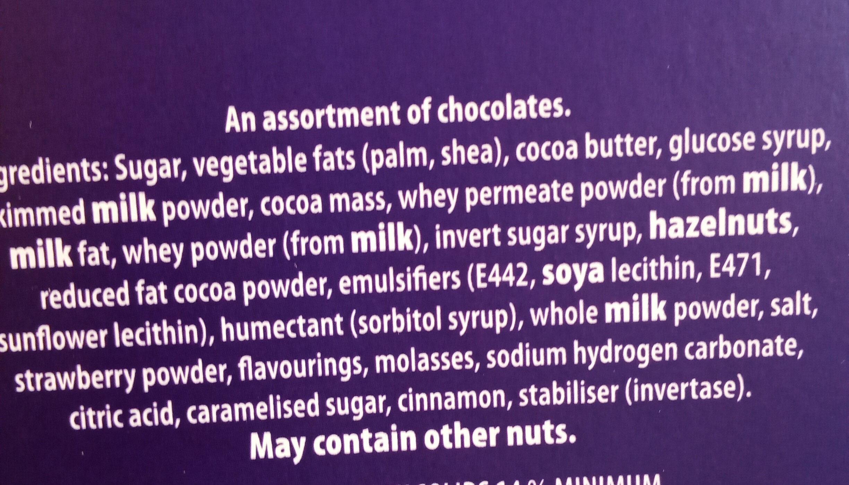 Cadbury Milk Tray Chocolate Box 530G - Ingredients - en