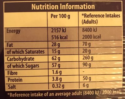 Cadbury Milk Tray Boxed Chocolates 360G - Informations nutritionnelles