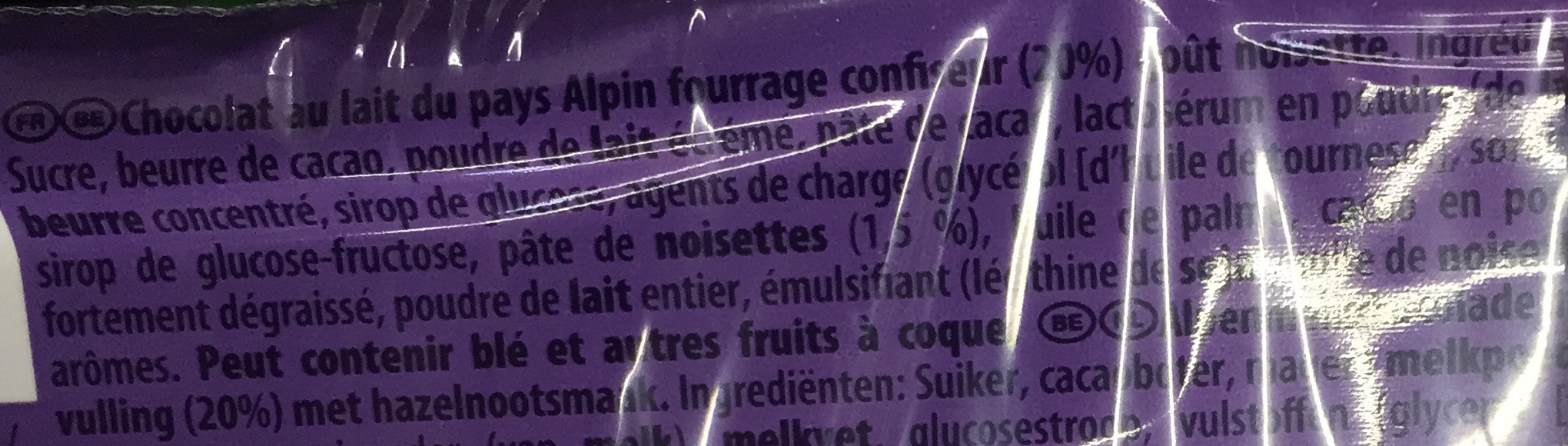 Choqsplash goût Noisette - Ingredients