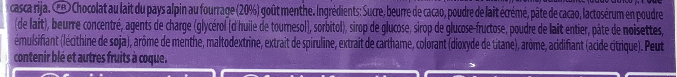 ChoqSplash goût Menthe - Ingrédients - fr