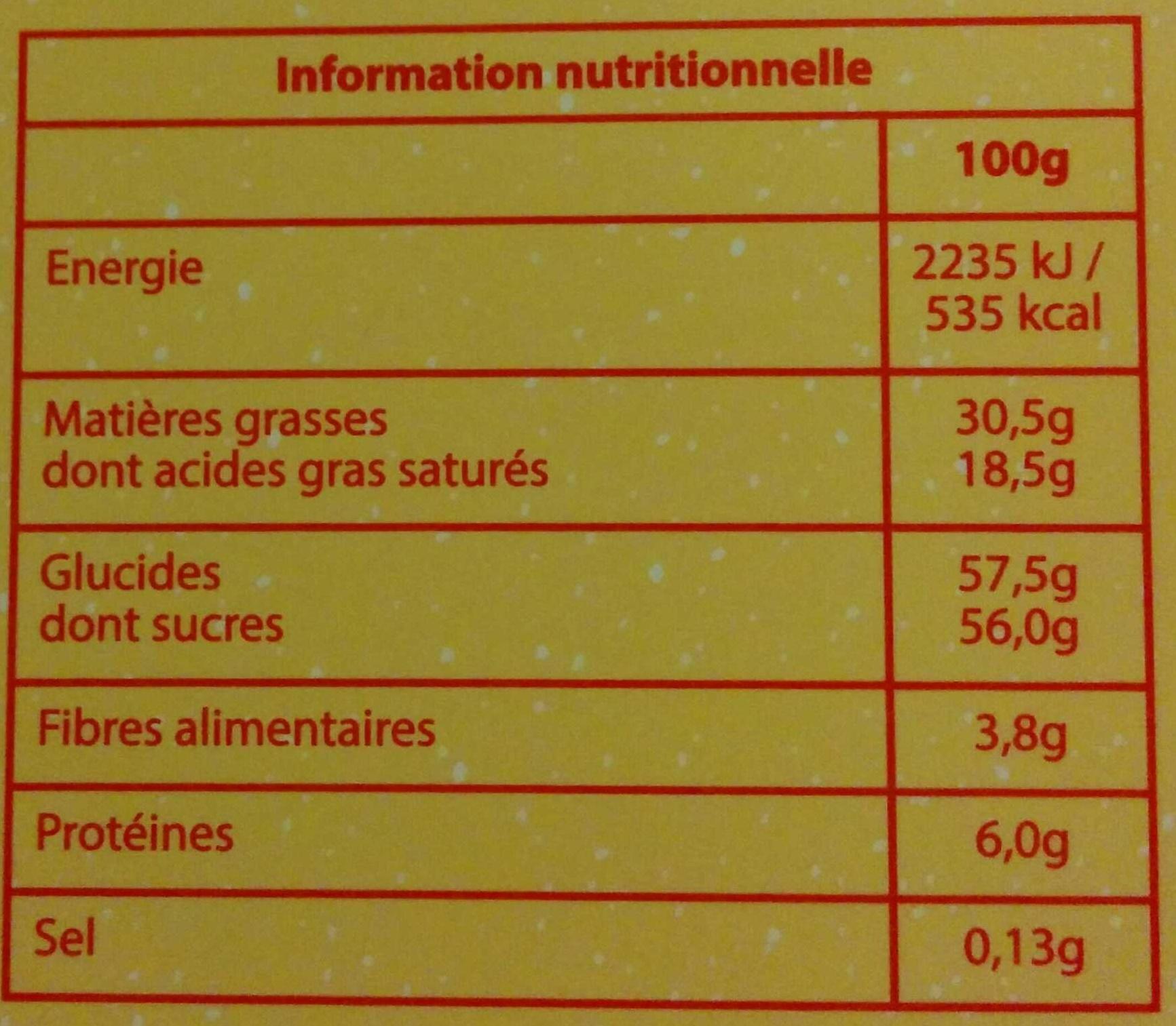 Assortiment Lait Noir Blanc - Informations nutritionnelles - fr