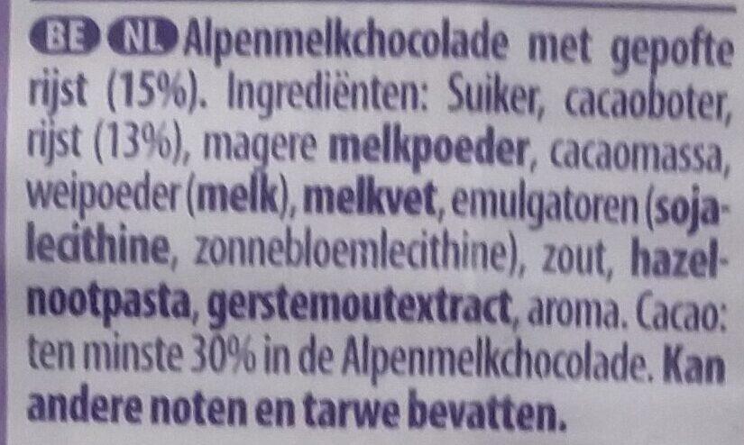 Chocolat au lait et aux grains de riz soufflés - Ingrediënten - nl