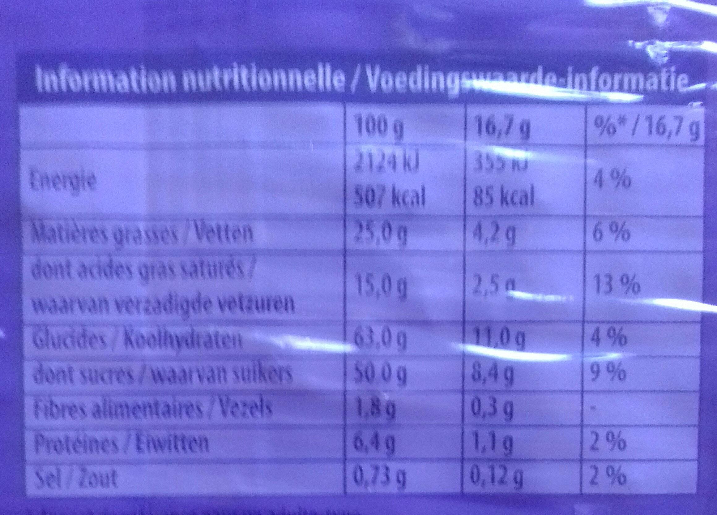 Chocolat au lait et aux grains de riz soufflés - Voedigswaarden