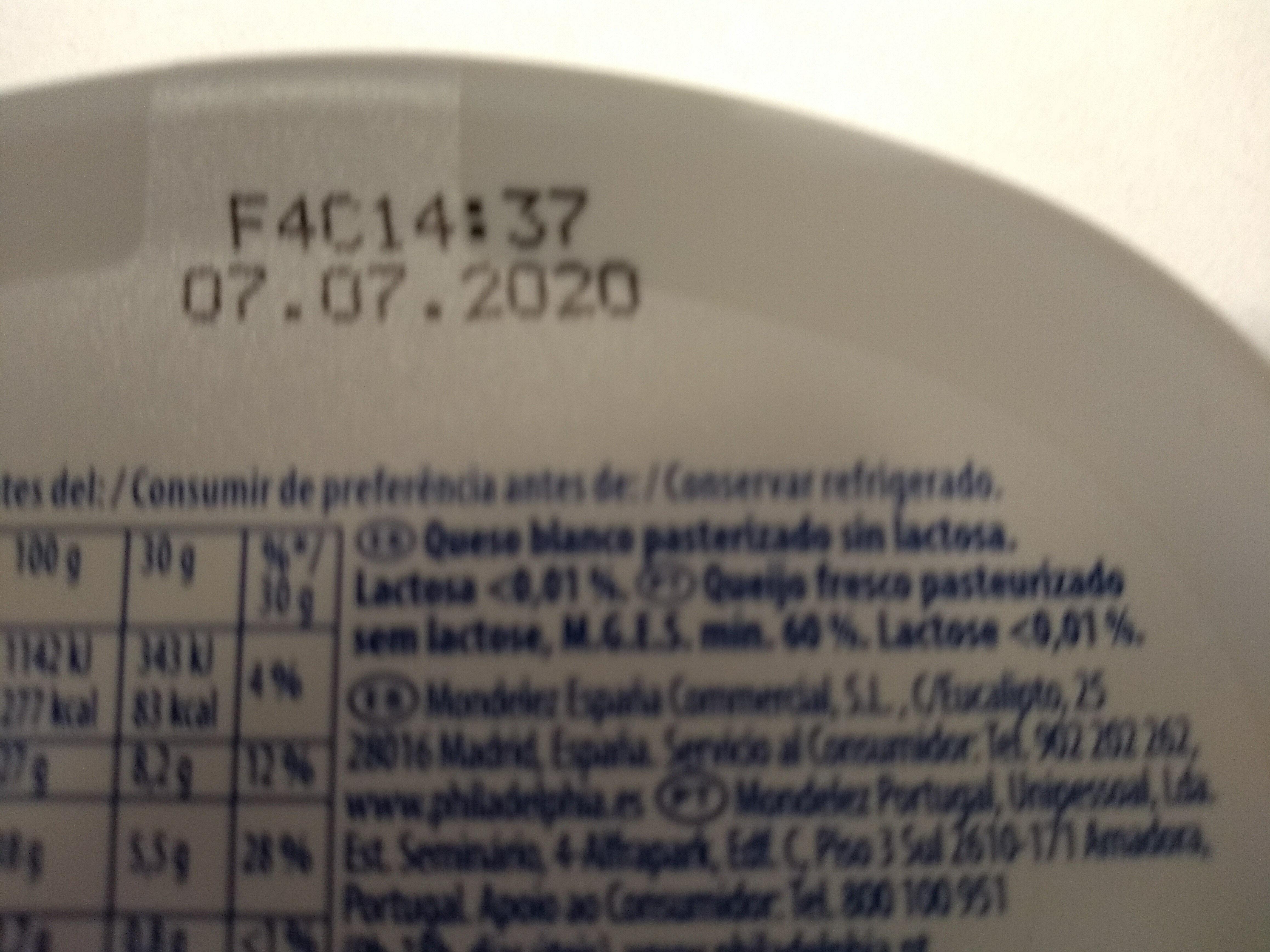 Philadelphia Sense Lactosa - Ingredientes - es