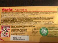 Mjölkchoklad Oreo 320 GR Marabou - Ingredientes