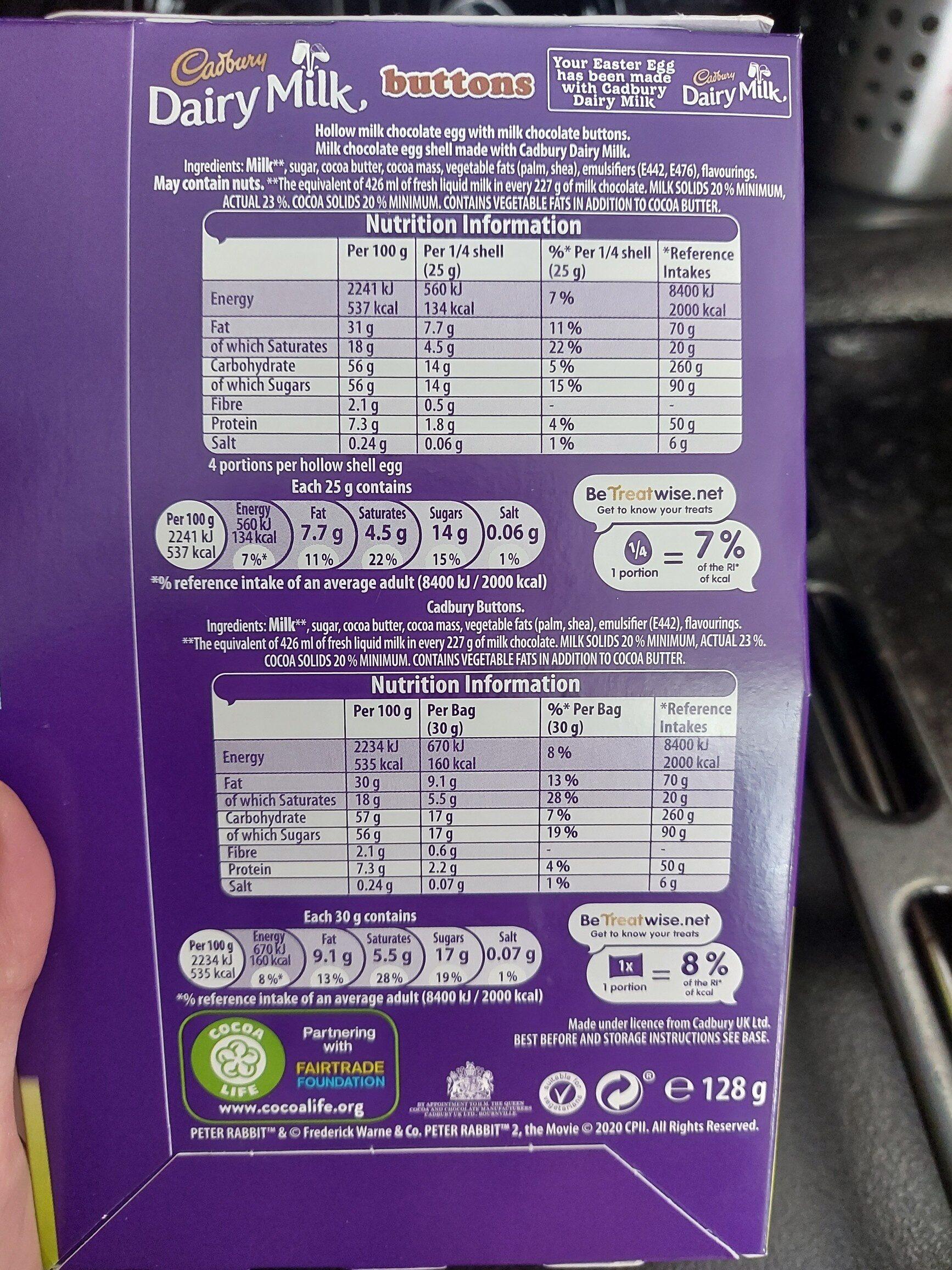 Cadbury chocolate egg - Ingredients - en