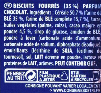 Prince: Goût Chocolat au Blé Complet - Ingrédients