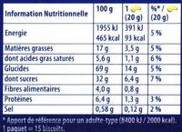 Prince: Goût Chocolat au Blé Complet - Informations nutritionnelles
