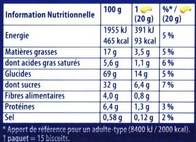 Prince: Goût Chocolat au Blé Complet - Informação nutricional