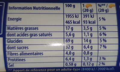 Prince Chocolat blé complet - Nutrition facts - fr