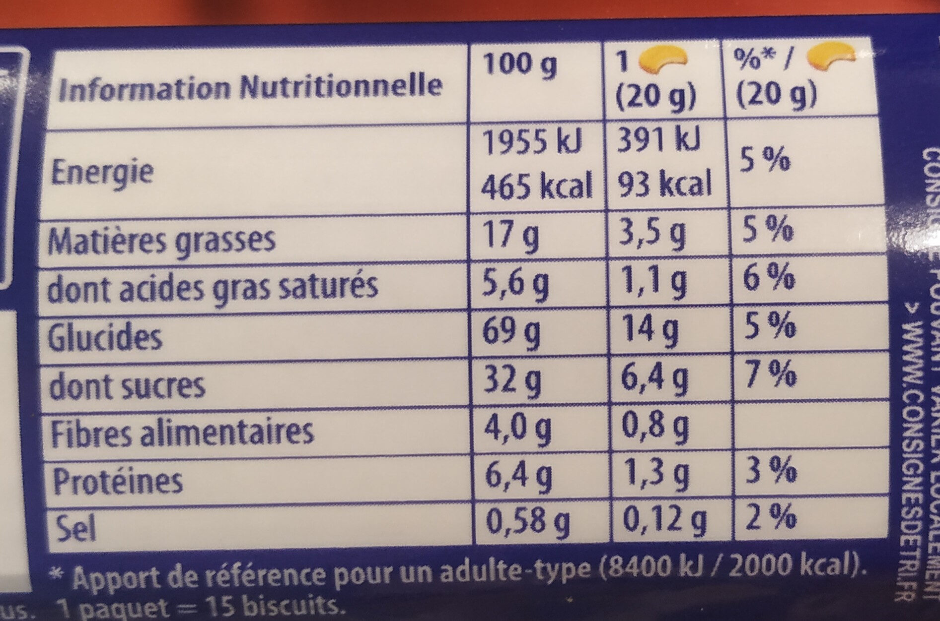 Prince - Nutrition facts - fr