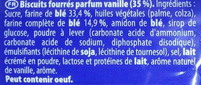 Prince vanille - Ingredients