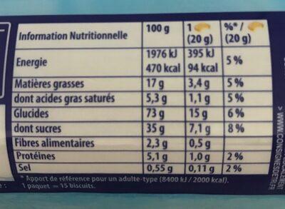 Prince Goût Vanille - Nutrition facts - fr