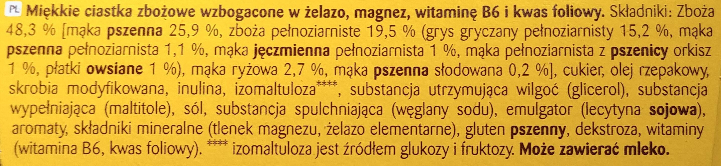 Bolacha de cereais enriquecida com ferro, magnesio, vitaminas B6 e B9. - Składniki - pl