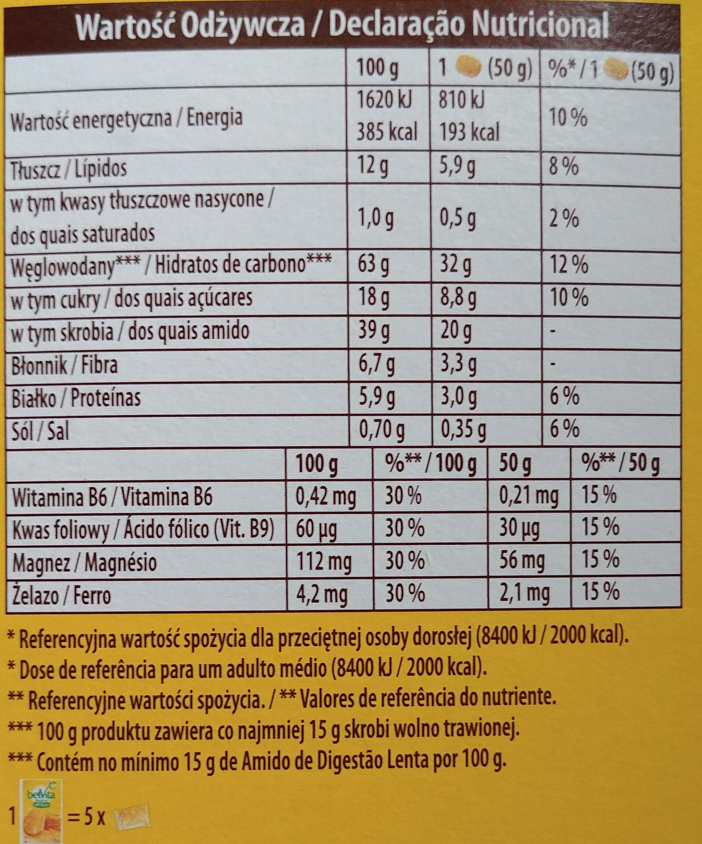 Bolacha de cereais enriquecida com ferro, magnesio, vitaminas B6 e B9. - Wartości odżywcze - pl