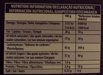 Milk Tray - Información nutricional