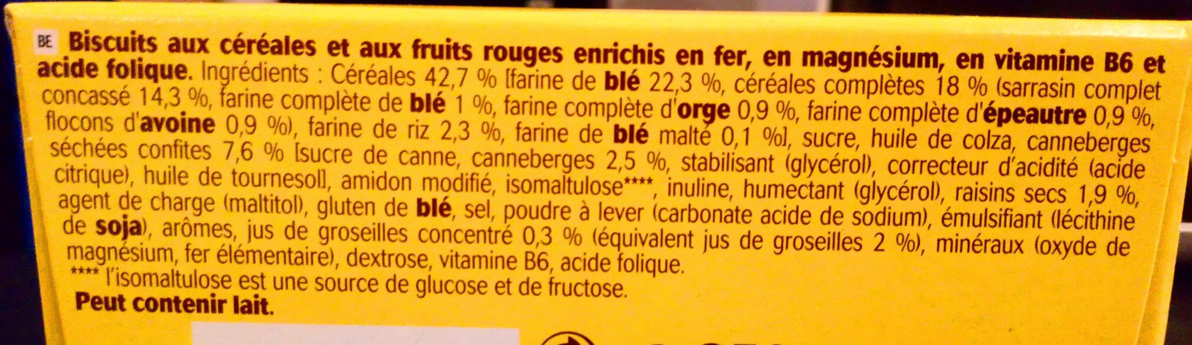 Belvita Soft Baked Fruits rouges - Ingrédients