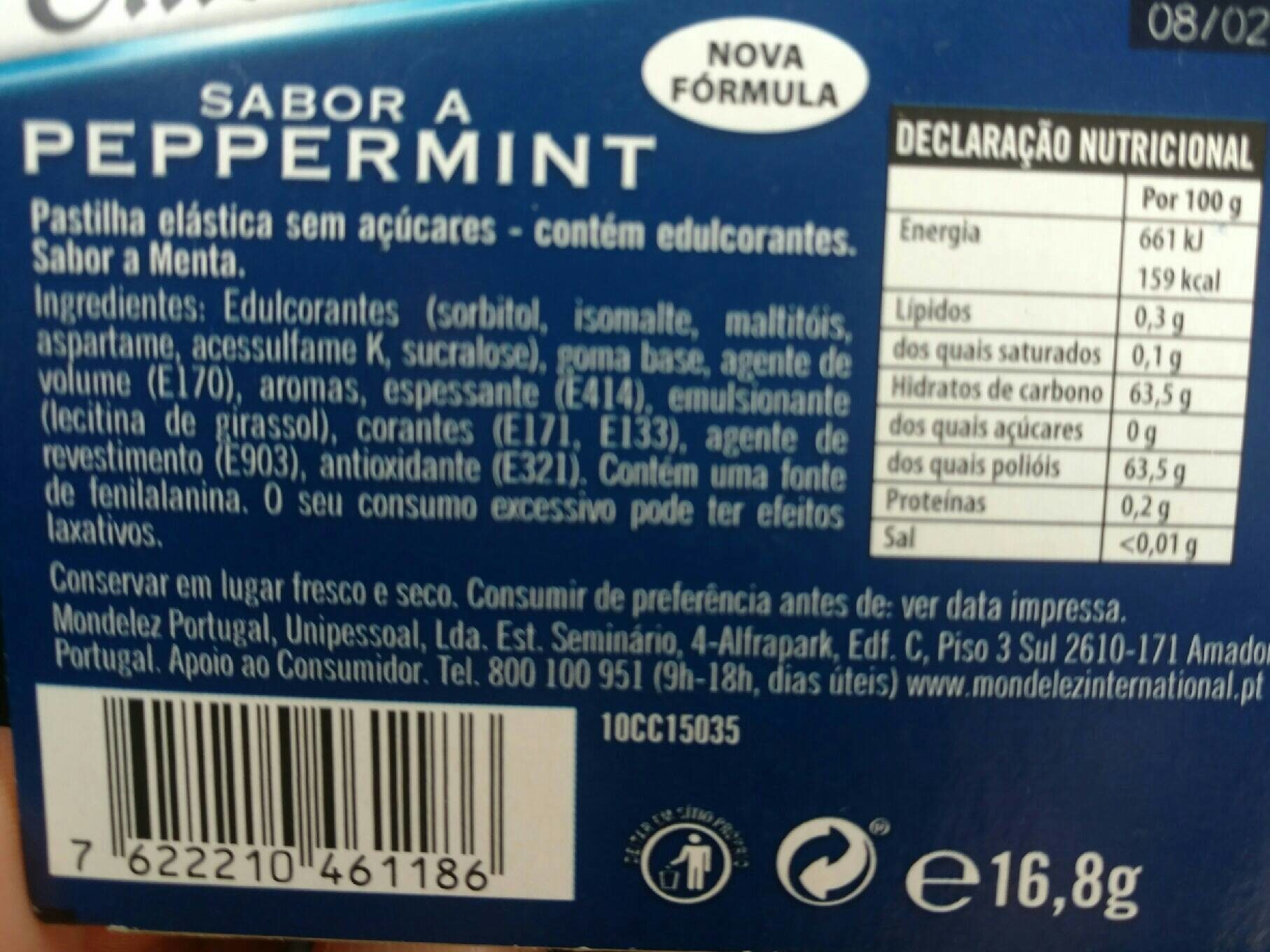 Chicklets Peppermint - Nutrition facts