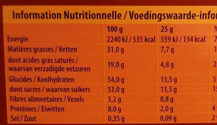 L'original - Chocolat au lait - Voedingswaarden