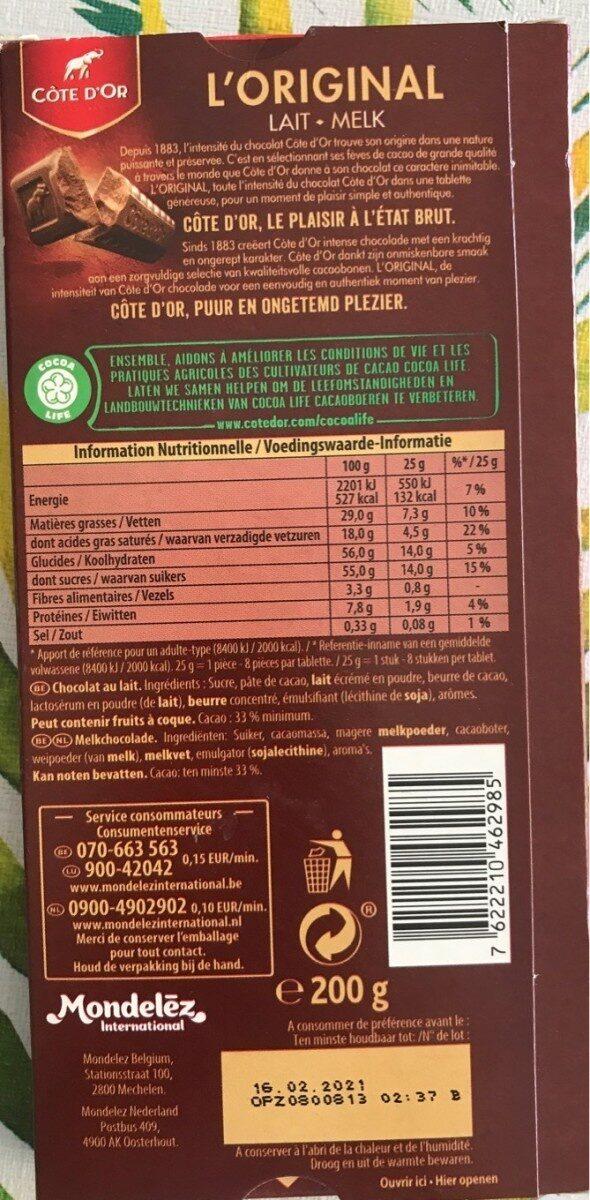 Chocolat au Lait - Nutrition facts - fr
