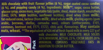 Dairy Milk Marvellous Smashables Jelly Popping Candy - Ingredients - en