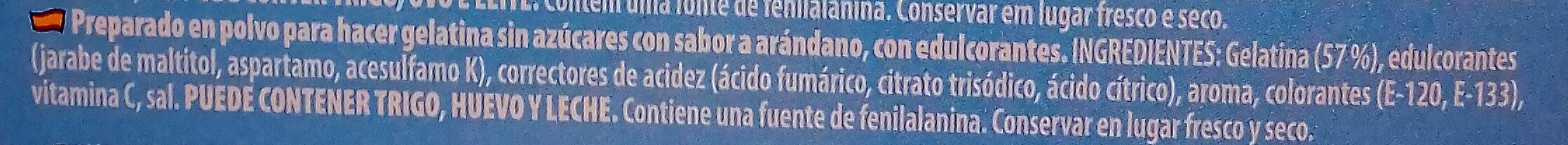 Gelatina sabor Arándano - Ingredients - es