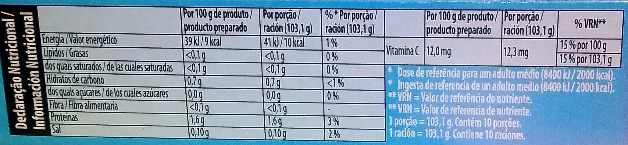 Gelatina sabor Arándano - Información nutricional - es
