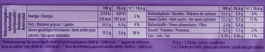 Milka Collage Himbeere - Informations nutritionnelles - de
