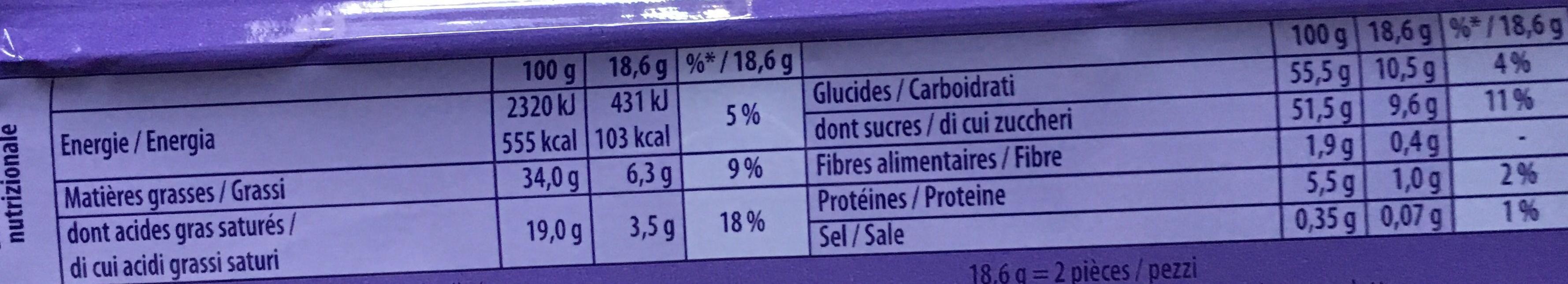 Melty Caramel fudge, morceaux de biscuits, pépites de chocolat - Nutrition facts