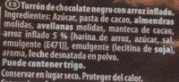 Turrón de chocolate negro - Ingredientes