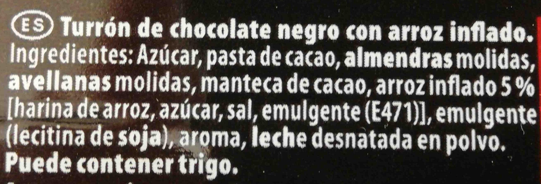 Turrón Chocolate Negro - Ingredientes - es