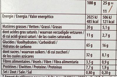 Mikado Chocolat au lait amandes grillées - Información nutricional
