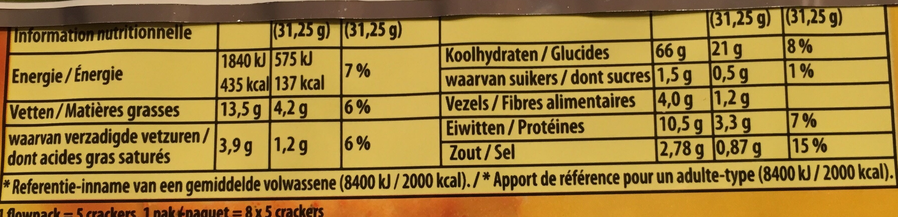 Mini crackers huile d'olive & origan - Nutrition facts - fr