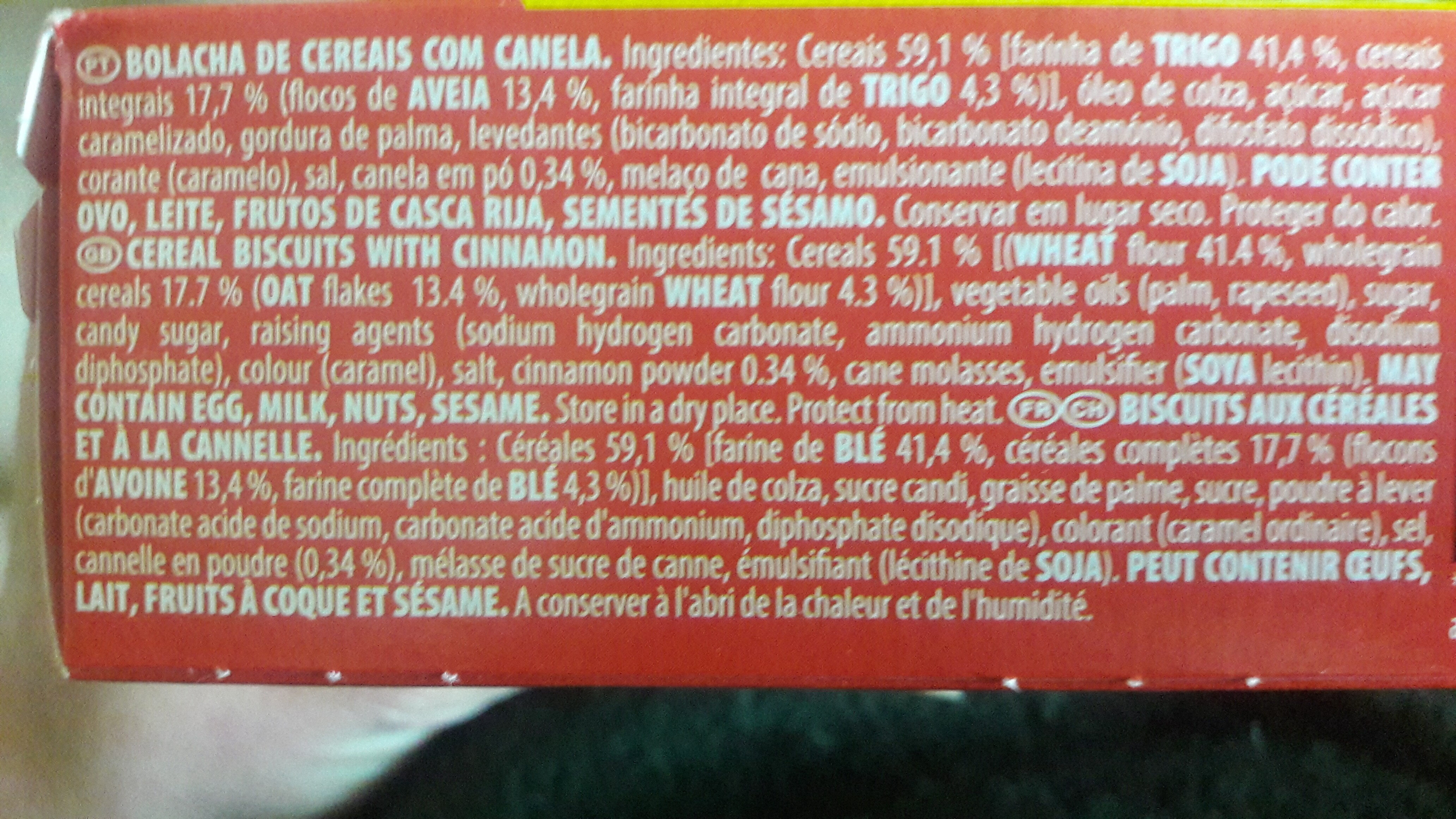Bolacha triunfo digestive go canela - Ingrédients - fr
