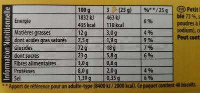 Véritable petit beurre - Informations nutritionnelles - fr