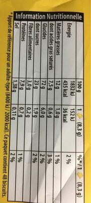 Véritable petit beurre - Nutrition facts - fr