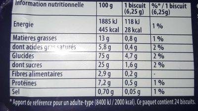 Petit Brun Extra - Informations nutritionnelles - fr